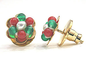 Pearl, Green Onyx & Red Coral Kudajodi Earrings -Kudajodi