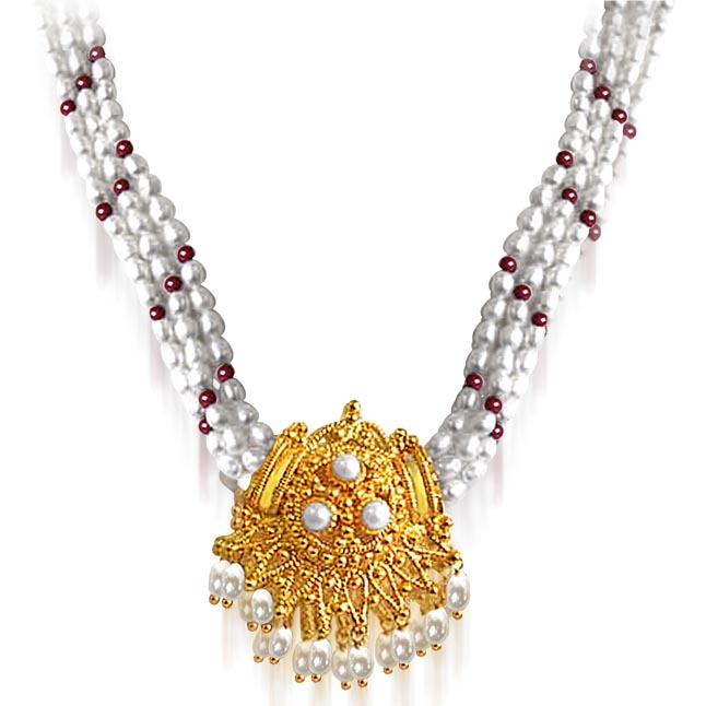 Gold Plated Temple Design Pendant, 3 Line Rice Pearl & Red Garnet Beads Pendant Necklace for Women (SNP9A)