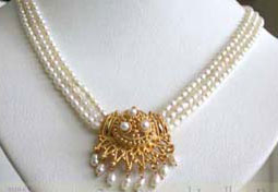 Gold Plated Temple Design Pendant & 3 Line Rice Pearl Necklace for Women (SNP9B)