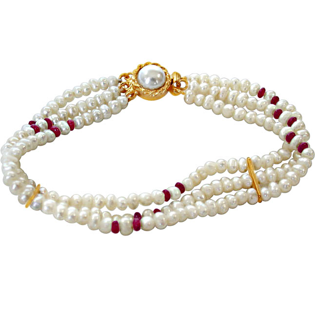 Pearl Ruby Bracelet -Pre.Stone Bracelet