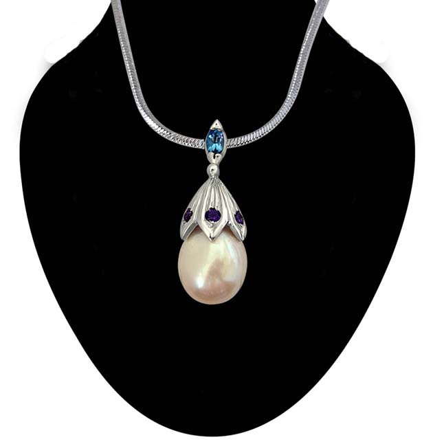 "A Drop of Love -Big Lustrous Drop Pearl & Silver Pendants with 18"" Chain -Pearl Silver Pendants"