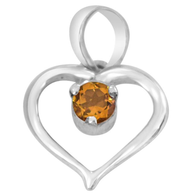 Perfect Memories Heart Shaped Yellow Topaz & 925 Sterling Silver Pendant with 18 IN Chain