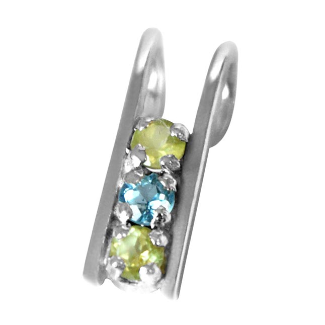 "Peridot Blue Topaz Silver Pendants with 18""Chain"