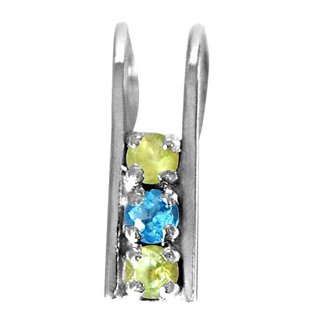 Peridot & Blue Topaz Silver Pendant with 18 IN Chain