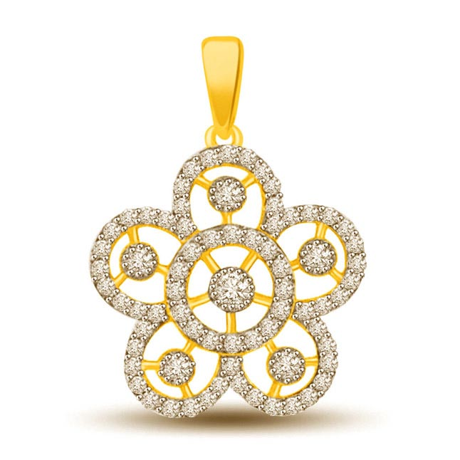 Petals of Life 0.30ct Two Tone Diamond & Gold Pendants -Flower Shape Pendants