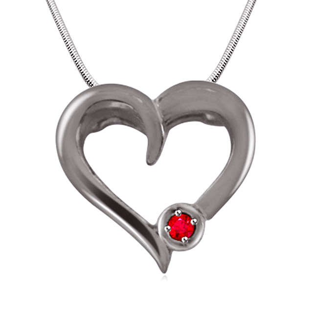 "Piece Of My Heart - Real Red Ruby & Sterling Silver Pendant with 18"" Chain"