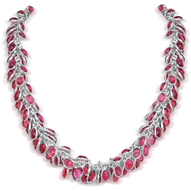 Pink Coloured Stone & Silver Plated Necklace. -Necklace