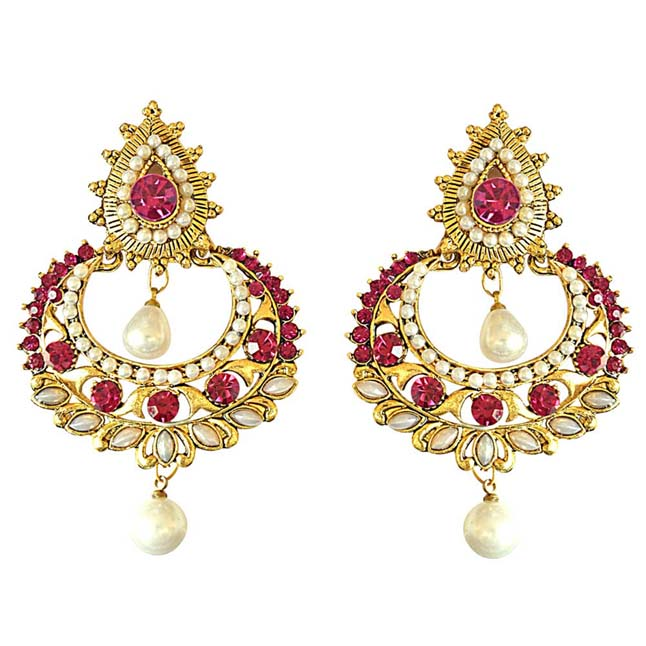 Pink Stone Shell Pearl Gold-Plated Chandbali Earrings For Women