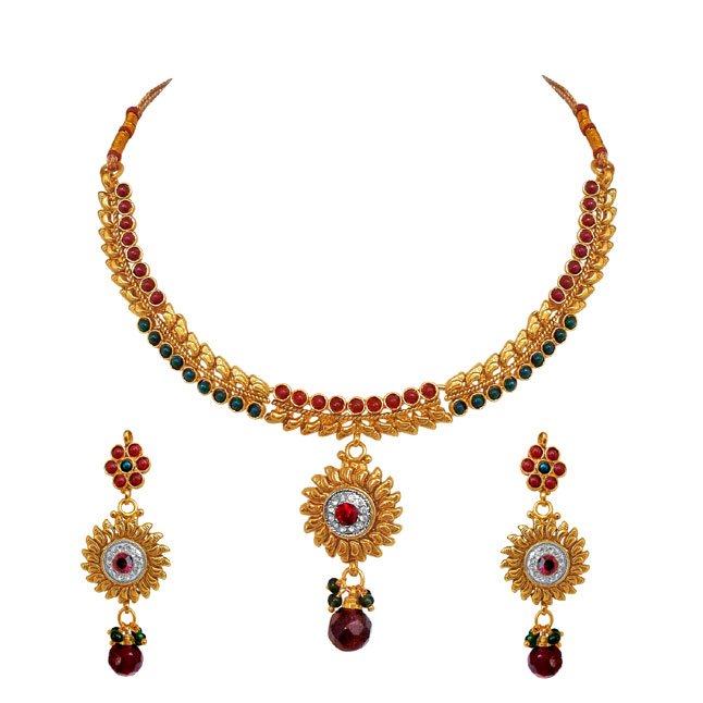 Polki Necklace Earrings Set