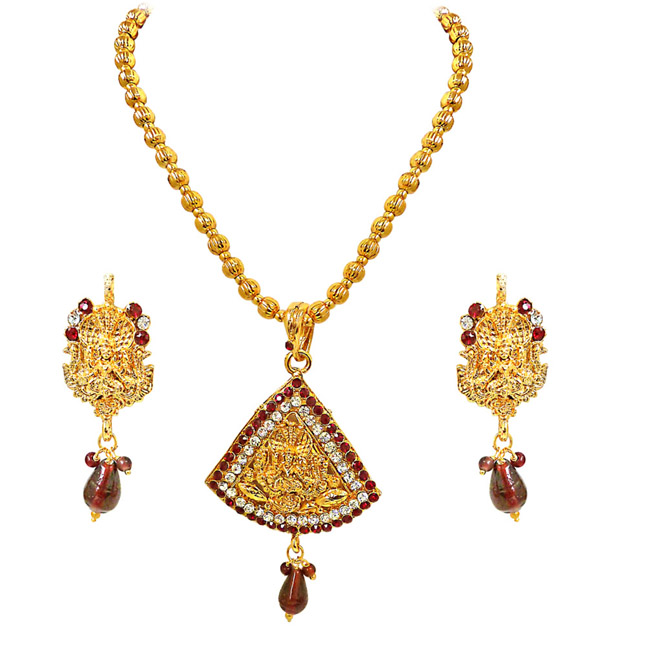 Prakruti -Red & White Kundan Polki Goddess Motif Fashion Jewellery Set