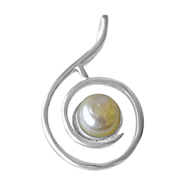 "Precious Royal Real Freshwater Pearl & Sterling Silver Pendants with 18"" Chain -Pearl Silver Pendants"