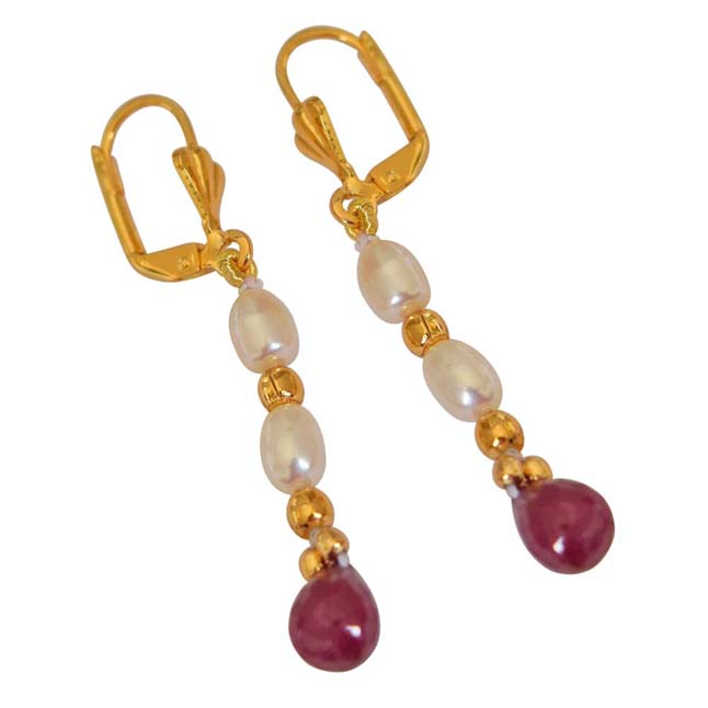 Faceted Drop Ruby, Rice Pearl & Gold Plated Beads Earrings -Pres.Stone Hanging Earrings