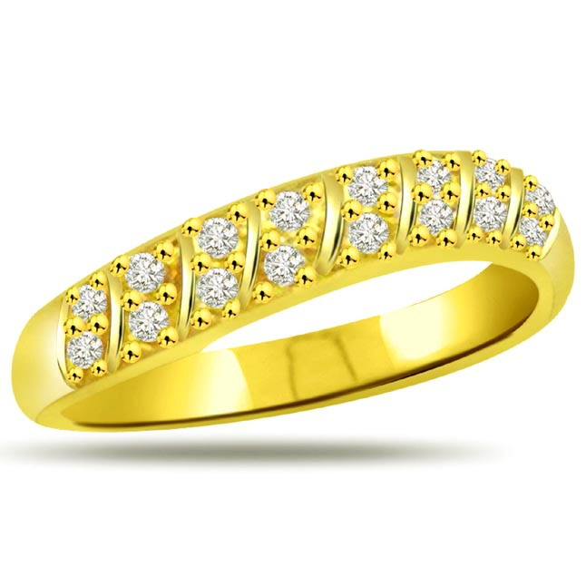 Pretty Diamond Gold rings SDR889 -Yellow Gold Eternity rings