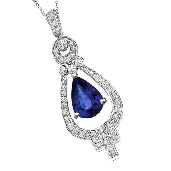 Pride of Groom White & Blue Saphire & Diamond 14k White Gold Drop Shaped Love Pendants -Designer Pendants