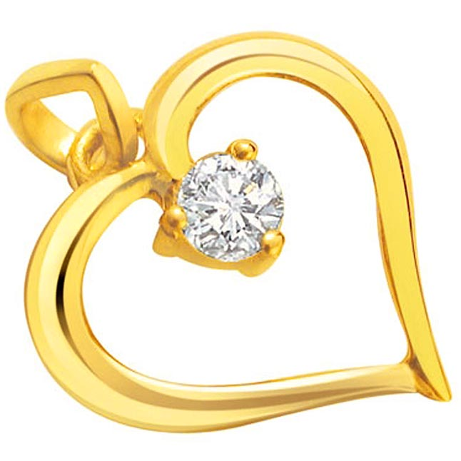 Princess Charm -Single Diamond Set in 18kt Heart