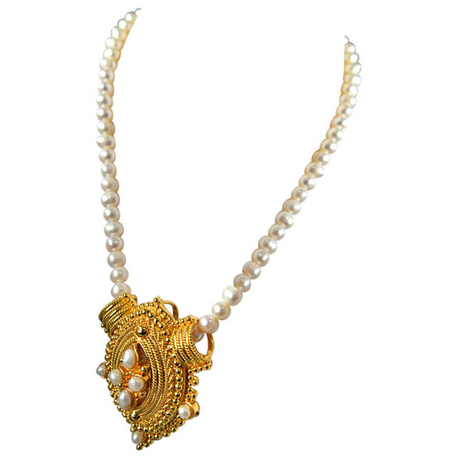 Princess Neck Pride - Gold Plated Pendant & Single Line Real Pearl Necklace with Kuda Jodi Earrings for Women (SN722)