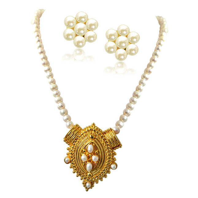 Princess Neck Pride Gold Plated Pendants & Single Line Real Pearl Necklace -Pearl Set
