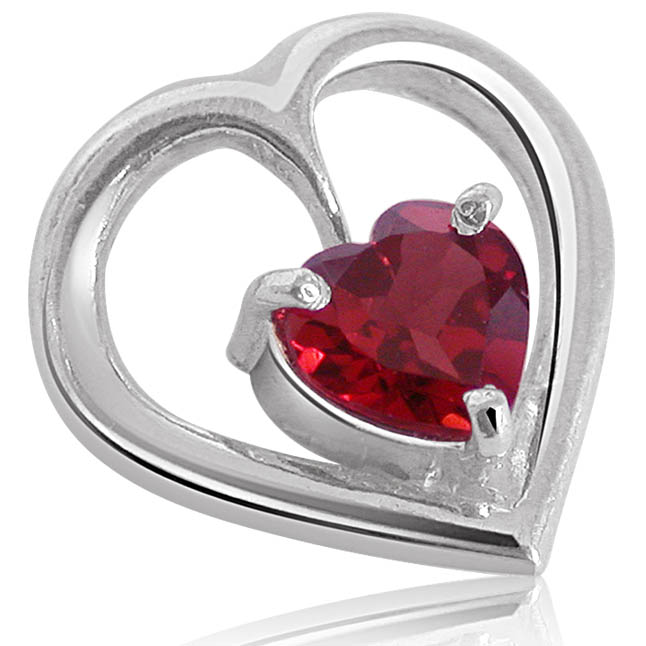 Promise a Heart - Heart Shape Red Garnet & Sterling Silver Pendant for Girls (SDS52)
