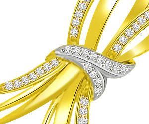 Promise of Love Bow Design Diamond & 18kt Fancy Gold Pendants -Designer Pendants