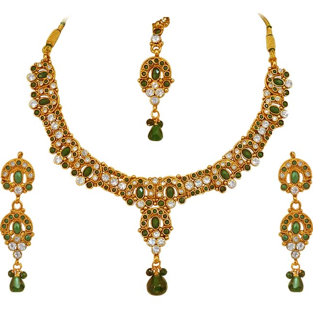 Green coloured Stone & Gold Plated Necklace Earrings Set