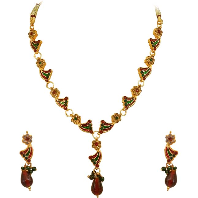 Red & Green coloured Stone & Gold Plated Necklace Earrings Set