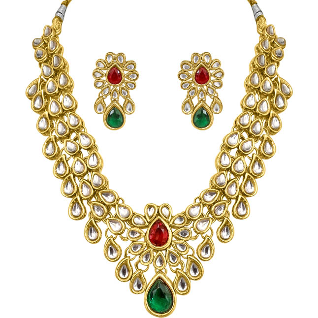 Delightful Dazzle Green White & Red Polki Set