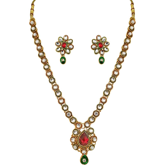 Exclusive Red & Green Polki Necklace & Earrings Set