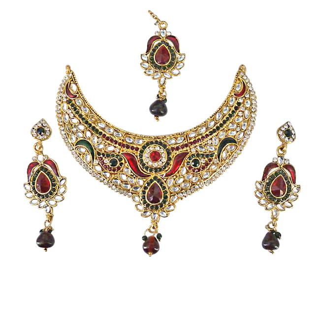 Joyful Delight -Multicolour Polki & Stone Necklace Set