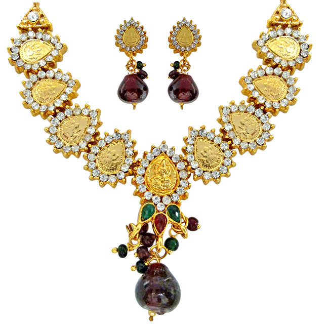 Goddess of Grace -Traditional Indian Polki Multicolour Fashion Jewellery Set