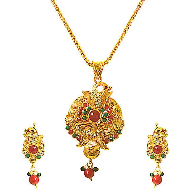 Dazzling Peacock -Pendants Necklace & Earrings Set