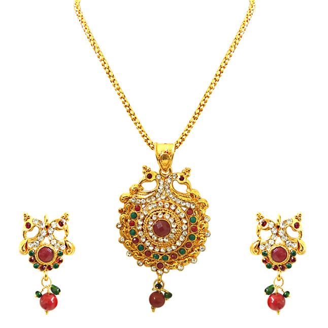 Bejewelled Peacocks -Pendants Necklace & Earrings Set