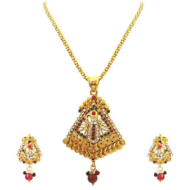 Dancing Peacock -Pendants Necklace & Earrings Set