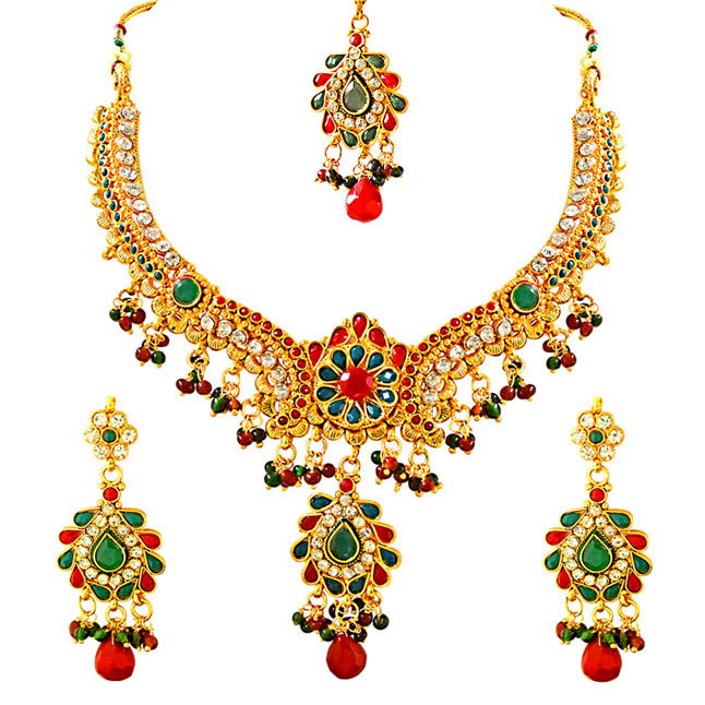 Traditional Red, Green & White Stone & Gold Plated Necklace Earrings & Tikka Fashion Jewellery Set