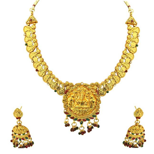 0dbc735c7 Traditional Gold Plated Necklace & Bali Earrings Fashion Jewellery Set for  Women ...
