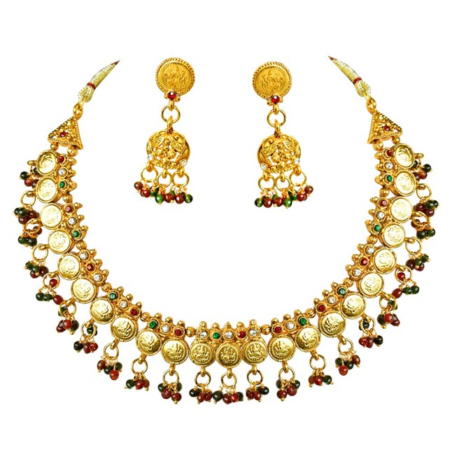 Traditional Red Green White Stone Gold Plated Necklace Zumkha Earring Fashion Jewellery