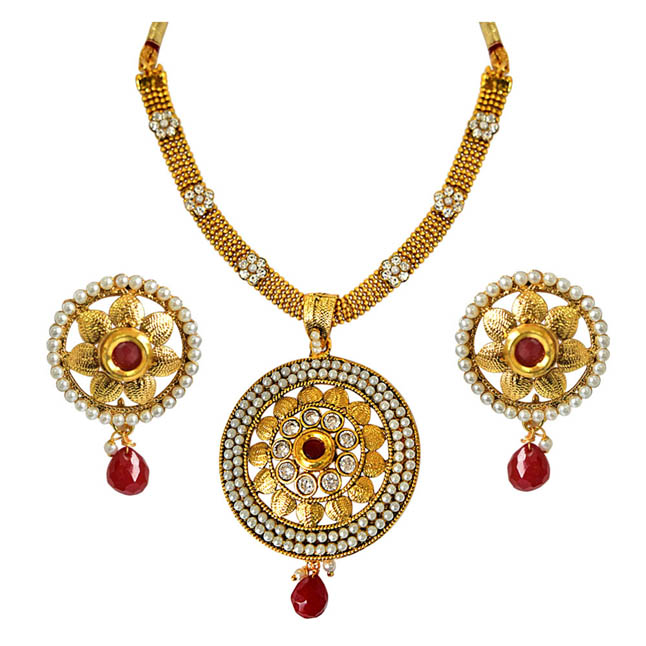 Round Shaped Traditional Red & White Stone, Shell Pearl & Gold Plated Pendants Necklace & Earrings Set