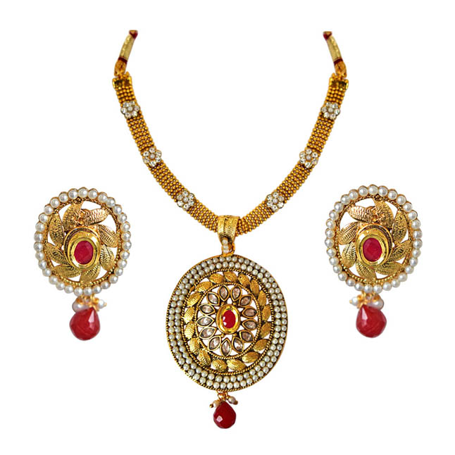 Oval Shaped Traditional Red & White Stone, Shell Pearl & Gold Plated Pendants Necklace & Earrings Set