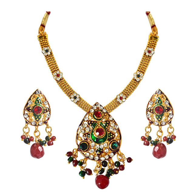 Ethnic Pear Shaped Red, Green & White Stones & Gold Plated Pendants Necklace & Earrings Set with Enamel