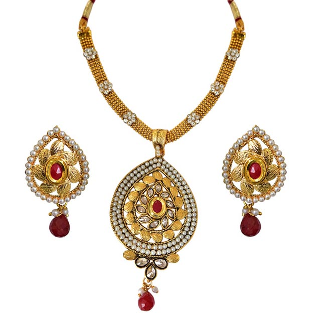 Traditional Pear Shaped Red & White Stones, Shell Pearl & Gold Plated Pendants Necklace & Earrings Set