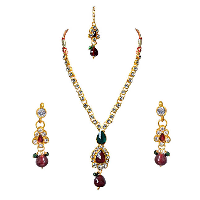 Delicate Red, Green & White Stones & Gold Plated Necklace, Earrings & Manga Tikka Set