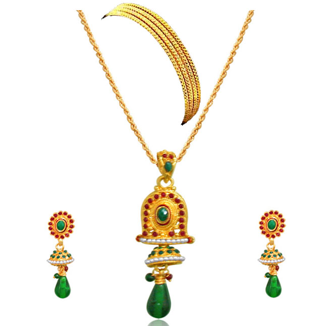 Bell Shaped Green & Red Coloured Stone set with Bangles -Fashion Jewellery Set