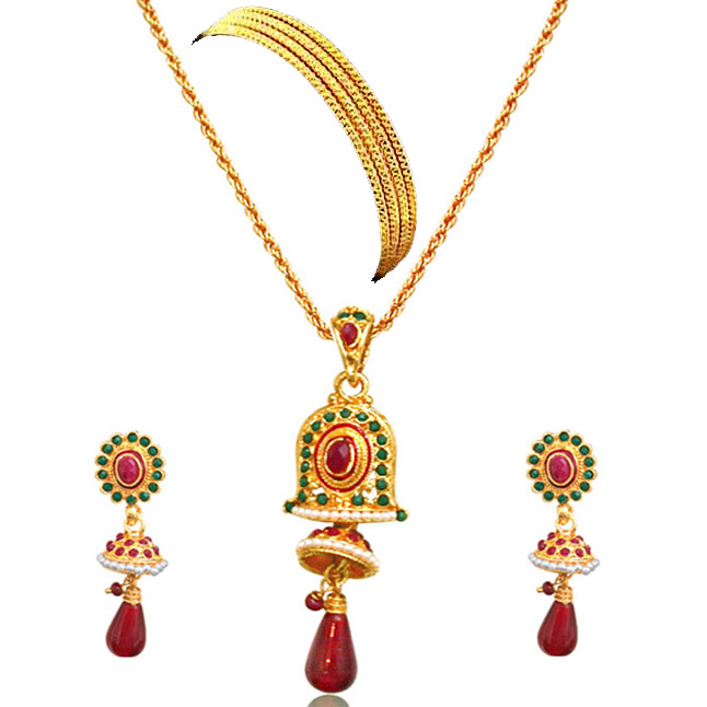 Red & Green Bell Shaped Gold Plated Set -Fashion Jewellery Set