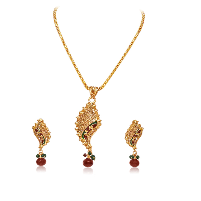 Fancy shaped Gold Plated Pendants Necklace & Earrings Set