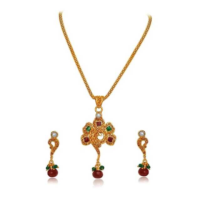Flower Shaped Polki & Gold Plated Pendants Necklace & Earrings Set