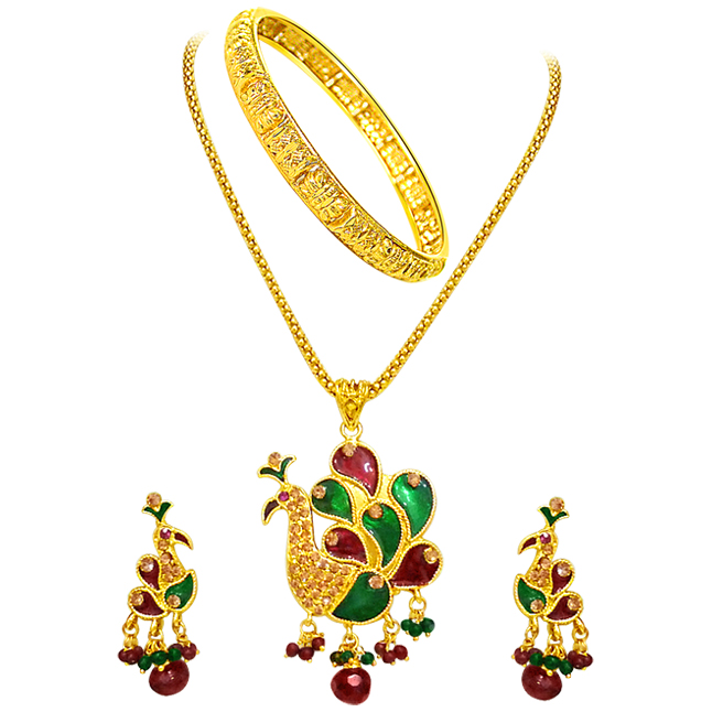 Peacock Shaped Necklace Set with kada