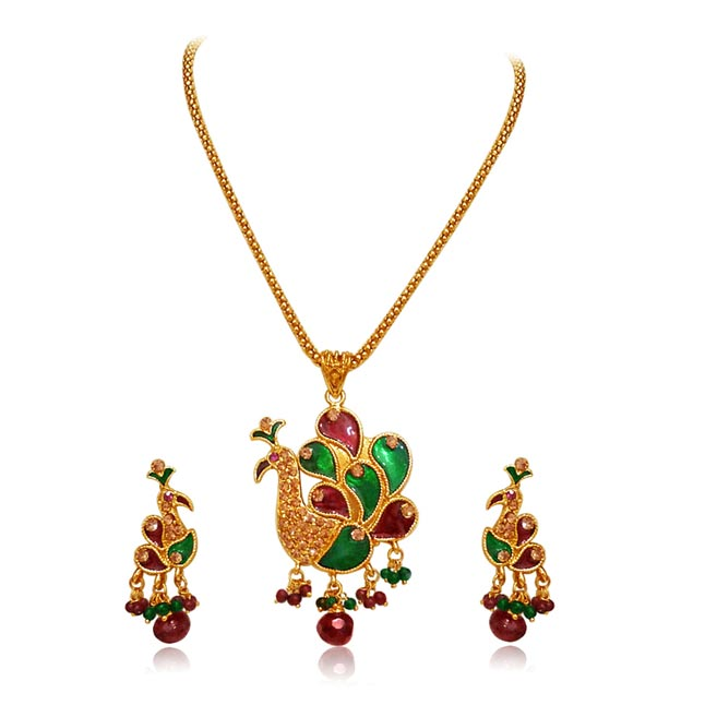 Peacock Shaped Necklace Set