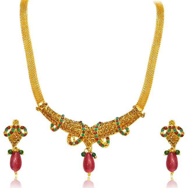 Traditional Rajasthani Polki Necklace & Earrings Set