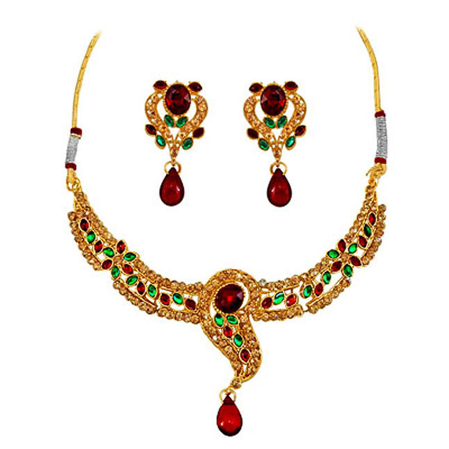 c65f0935bac3b A Dazzling Red & Green Kundan Necklaces Earrings| Surat Diamond Jewelry