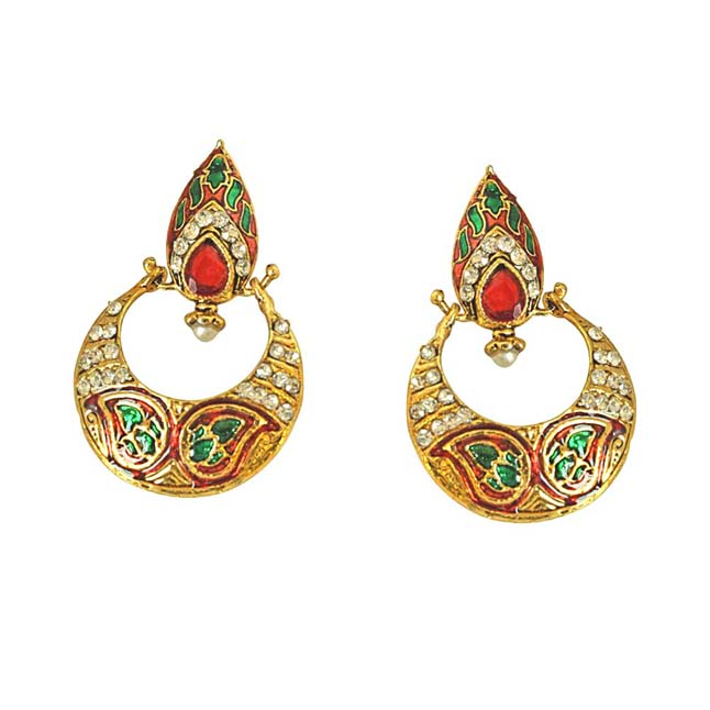 Drop Shaped Red -Green Enamelled, Studded with White Stones & Gold Plated Ch Bali Earrings