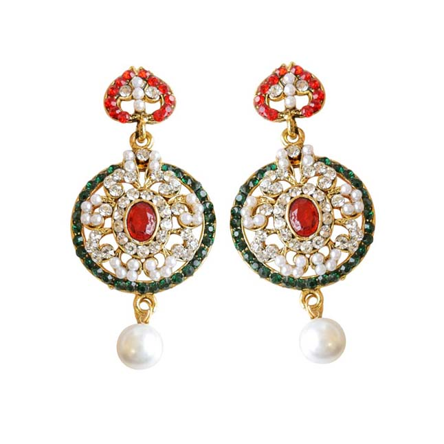 Round Shaped Red, Green & White Coloured Stone, Shell Pearl & Gold Plated Ch Bali Earrings
